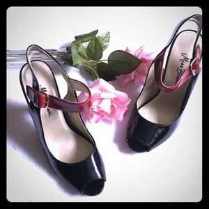 Miss Bisou Faux Patent Leather Black Ankle Strap